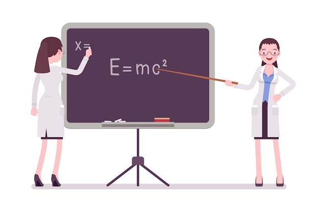 Femme scientifique au tableau noir