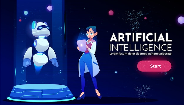 Femme scientifique devant bannière de néon robot panda