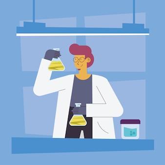 Femme scientifique avec flacons et pot
