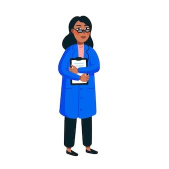 Femme scientifique isolée sur blanc