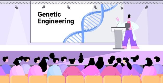 Femme scientifique en masque prononçant un discours de la tribune test adn concept de conférence médicale de génie génétique