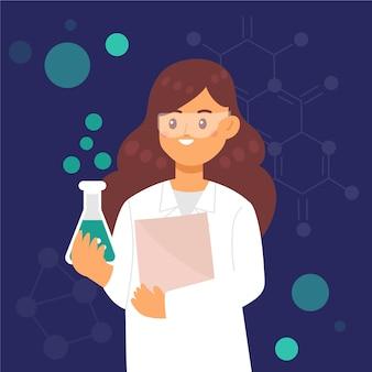 Femme, scientifique, tenue, cahier, bécher, verre