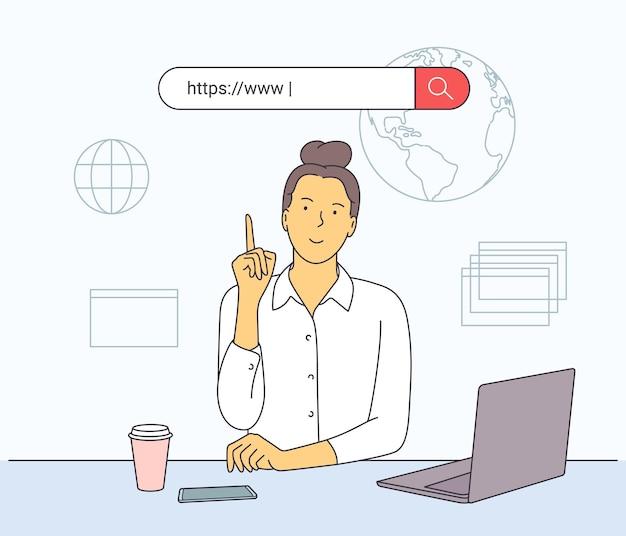 Femme se connectant avec son ordinateur à la maison et suivant des cours en ligne, apprentissage à distance.