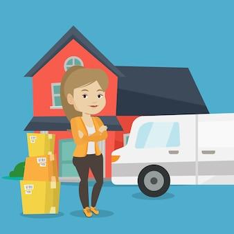 Femme se déplaçant à la maison illustration vectorielle.