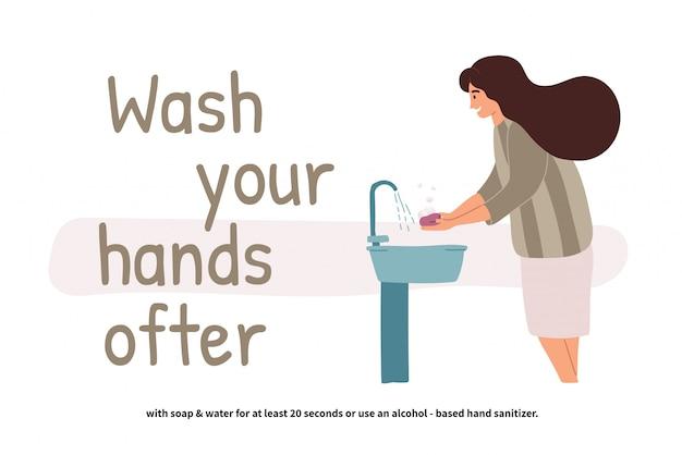 Femme se laver les mains. perspective jeune fille debout au lavabo. mains propres. soins personnels quotidiens. prévention covid-19. illustration en style cartoon plat.