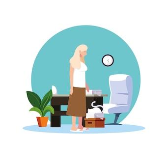 Femme se sentant malade à la maison vector design