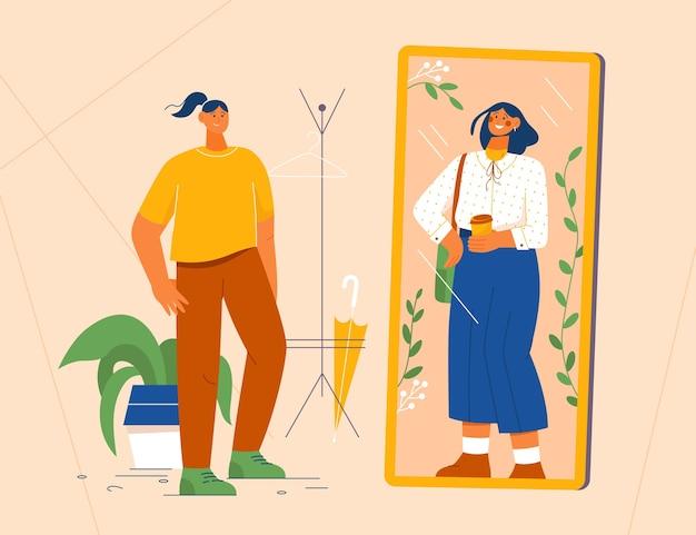 Femme se tient devant le miroir en regardant la réflexion
