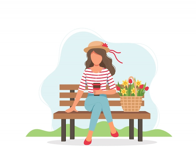Femme, séance, banc, café, ressort, fleurs, panier