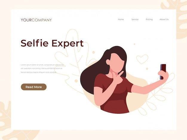 Femme selfie page d'atterrissage