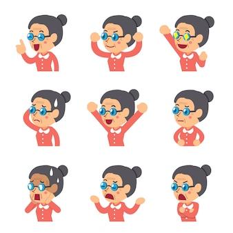 Femme senior de dessin animé montrant différentes émotions