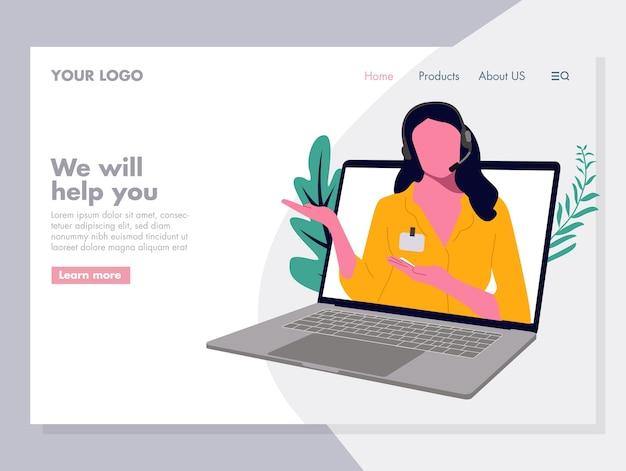 Femme service clientèle vector illustration pour page d'accueil