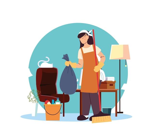 Femme en service nettoyage bureau illustration desing