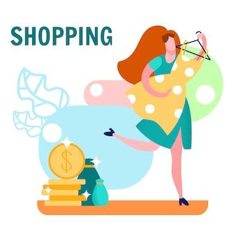 Femme, shopping, dessin animé, illustration vectorielle