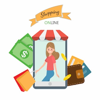 Femme shopping en ligne dans le mobile.