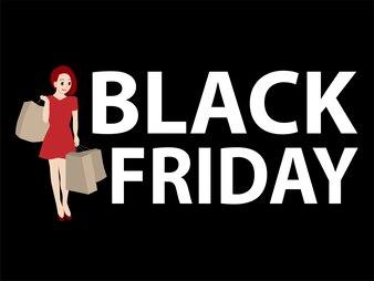 Femme shopping vendredi noir