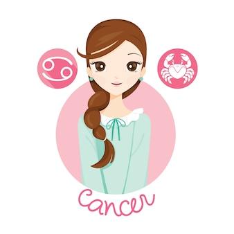 Femme avec signe du zodiaque cancer