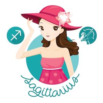 Femme avec signe du zodiaque sagittaire