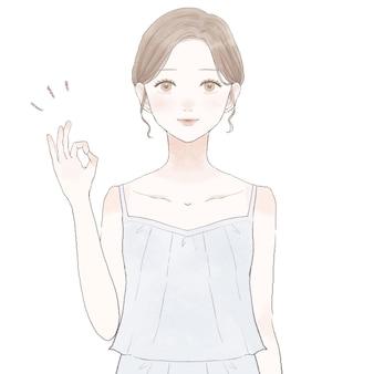 Femme avec signe ok. sur fond blanc.