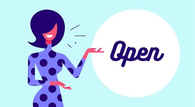 Femme avec signe ouvert