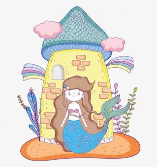 Femme sirène avec nuages de château et arc-en-ciel