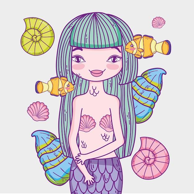 Femme sirène avec poissons clowns et coquillages
