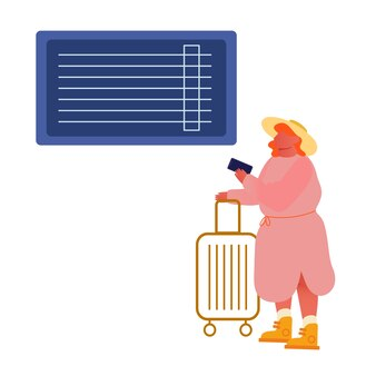 Femme avec smartphone et bagages