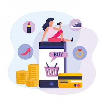 Femme avec smartphone et shopping en ligne avec carte de crédit