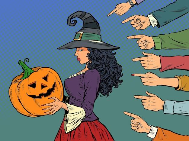 Femme sorcière avec citrouille halloween vacances saisonnières honte honte intimidation thème pop art