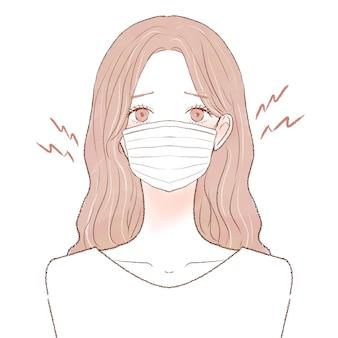 Une femme souffrant de frictions et d'inflammations causées par le port d'un masque. sur un fond blanc.