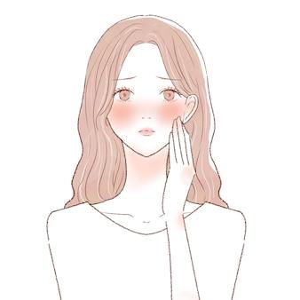 Une femme souffrant d'inflammation de la peau. sur un fond blanc.