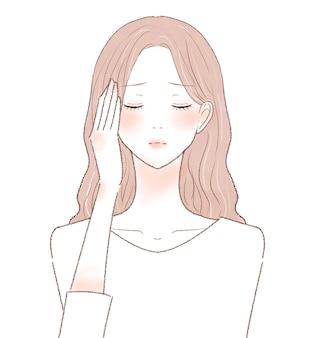 Femme souffrant de maux de tête. sur un fond blanc.