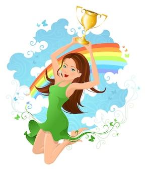 Femme soulevant le trophée gagnant dans ses mains au-dessus.