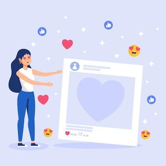 Femme souriante accro aux médias sociaux