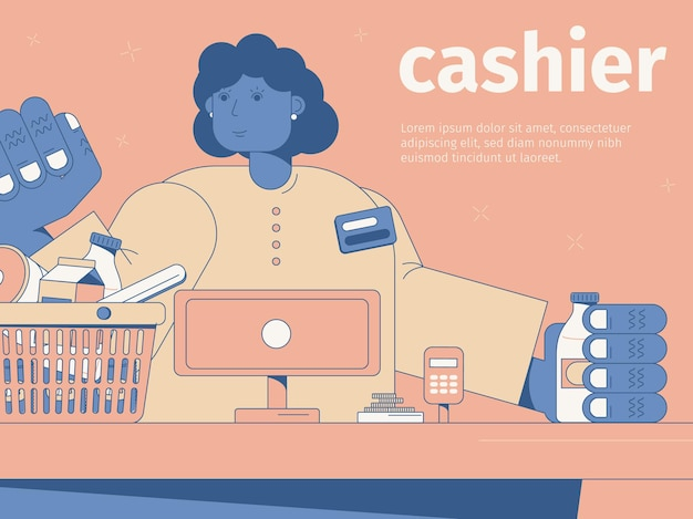 Femme souriante caissier à la caisse dans un supermarché