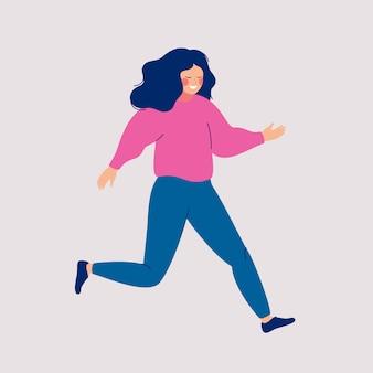 Femme souriante de dessin animé est très pressé.