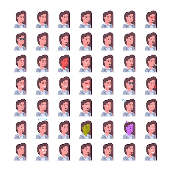 Femme souriante icônes émotion set avatar isolé femme expression faciale concept collection visage