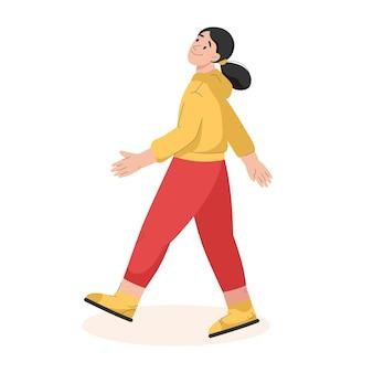 Femme souriante, marche, dans, vue côté, jeune fille, dans, tenue décontractée, va