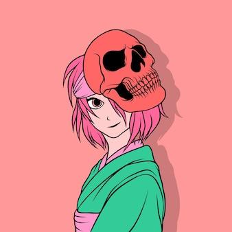 Une femme souriante portant un masque de crâne
