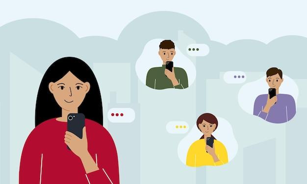 Une femme souriante tient un smartphone à la main et envoie des messages à ses amis. illustration plate d'un message texte instantané et d'un échange de données avec un ami via l'application mobile messenger