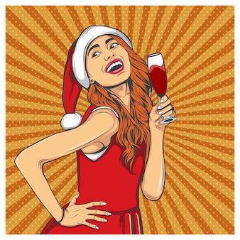 Femme souriante, à, a, verre vin