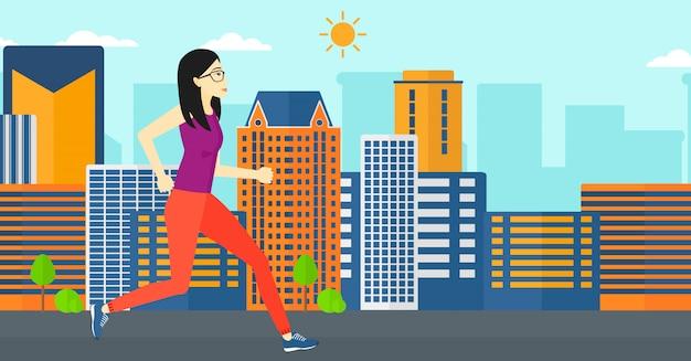 Femme sportive jogging