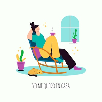 Femme de style dessiné à la main relaxante