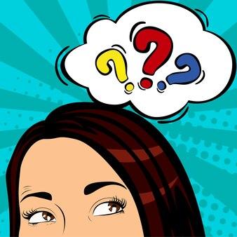 Femme surprise et choquée dans le style de bande dessinée pop art avec bulle de mot question.