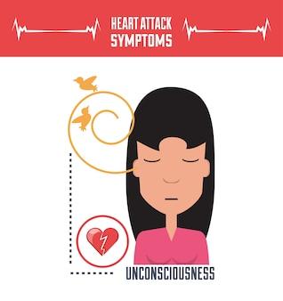 Femme avec des symptômes de crise cardiaque et de la condition