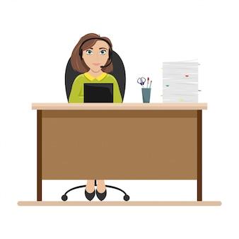 Femme à table avec des écouteurs. employé du centre d'appels. illustration plate.