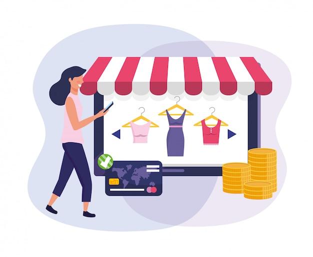 Femme avec tablette e-commerce et carte de crédit pour faire du shopping