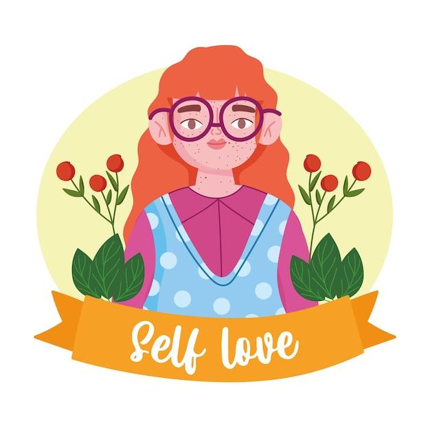 Femme avec des taches de rousseur et des lunettes personnage de dessin animé illustration d'amour de soi