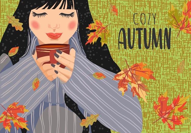 Femme avec une tasse de thé et des feuilles qui tombent.