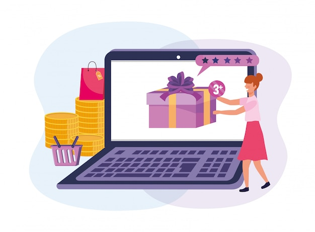 Femme avec technologie portable et shopping en ligne