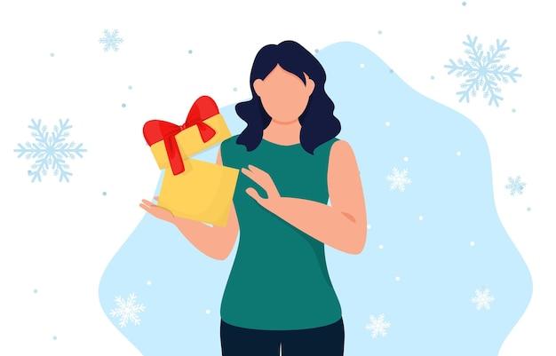 Femme tenant une boîte-cadeau. fille avec cadeau de noël. joyeuse surprise de vacances de noël. journée de magasinage des personnages. illustration vectorielle.